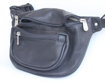 Vintage Piel Black Leather Fanny Pack
