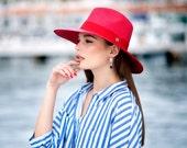 Eva red  wide brim Panama hat