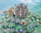 Handmade Catholic Rosary, 6mm Czech Glass Pale Jade Beads, Lampwork with Swarovski Our Fathers, Large Miraculous Center and Crucifix Set