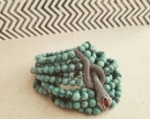 Beaded snake Turquoise bracelet