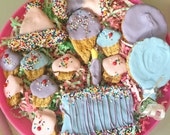 Wheat Free Birthday Dog Treat Platter - Puppy Shower Gift - Apple Spice - Gourmet Treats for your Dog - Pick Your Color