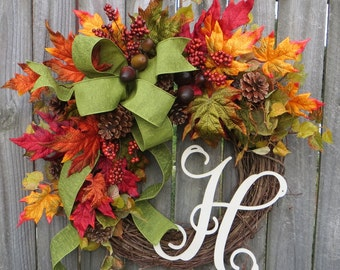 Wreath, Fall Monogram Wreath, Wreath for Fall with Letter, Thanksgiving Wreath, Fall Green Wreath ,Leaves Wreath, Fall Wedding Wreath