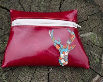 Deer Totem Red Vinyl Zipper pouch