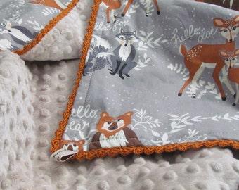 """Minky baby blanket - 30"""" x 36""""- Hello Bear minky blanket- Fox minky blanket- woodland animals minky blanket- toddler minky blanket-"""
