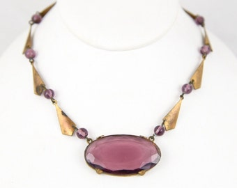 Art Deco Czech Purple Glass & Geometric Brass Choker Necklace