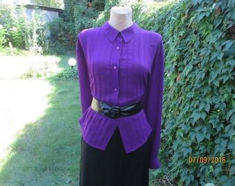 Buttoned Blouse / Woman / Womens Blouse / Purple / Plum Blouse / BigBlouse / Blouse Large / Size EUR52 / UK24