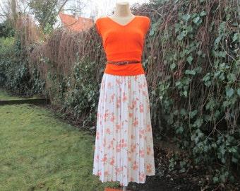 Pleated Skirt / Pleated Skirts / Skirt Vintage / Size EUR44 / 46 / UK16 / 18 / Long Pleated Skirt / Accordion Skirt / Floral
