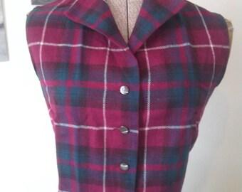 Vintage Plaid Tartan Vest Rockabilly Retro