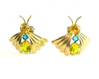 Art Deco Jewelry. Rhinestone Butterfly Brooch or Dress Clip Pair. Gold Tone Insects Bugs.  Vintage 1940s Coat Clips.