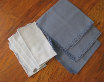 lot of 8 fabric napkins - 4 light blue 3 slate blue