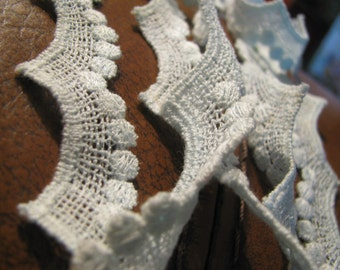 2 yards of 1.25 inch beautiful baby blue cotton woven trim / lace 1960s -  perfect condition
