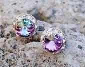 25% OFF SUMMER SALE Purple Rainbow Earrings Diamond Earrings Swarovski Earrings Small Sugar Sparklers Swarovski Rhinestone Earrings Mashugan