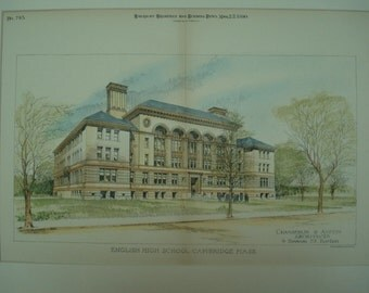 English High School, Cambridge, Massachusetts, 1890, Chamberlin & Austin, Architects. Hand Colored, Original Plan, Architecture, Vintage