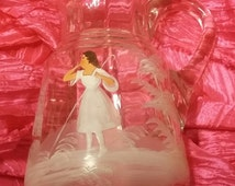 True Antique Vintage Victorian Glass Hand Painted Pitcher Ruffled Bo peep Mary Gregory Era estate