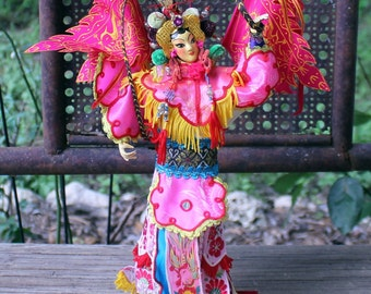 Vintage Chinese New Year Doll, Colorful Asian Doll, Year of the Rooster Doll, Collectible Year of the Rooster