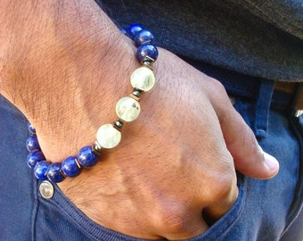 Men's Unconditional Love, Healing, Protection Bracelet with Semi Precious Prehnite, Lapis Lazuli, Hematites and Copper, Meditation Bracelet