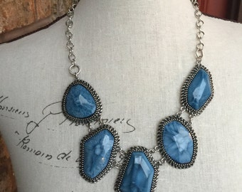 Blue stone chunky necklace, one of a kind,