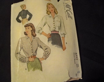 1947 McCall 6773 Size 12 B30 Misses Blouses - Three Sleeve Lengths - Patch Pocket - Turned Up Cuffs - Pointed Collar - Sewing Pattern Supply