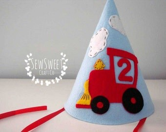 Felt Party Hat, Train Birthday Party Hat, Train Theme