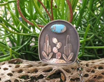 Cactus Garden Shadowbox Necklace. Sterling silver pendant with gemstone moon made to order.
