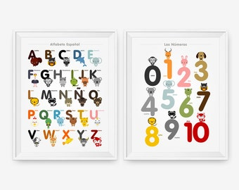 Spanish Alphabet and Number Posters, Kids wall art, Animal art print, Classroom Decor, Nursery Art, Children Room Decor