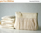ON SALE 6 Bridesmaid lace clutch bags, wedding clutch, ruched lace clutch, Bridesmaids gifts, Pleated lace, Pearl effect leather Choose your