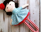 "Custom Order 17"" Emma Doll, Rag Doll, LollyPoppet Doll, SpunCandy, Handmade Doll, Cloth Doll, Fabric Doll, Customizable Doll"