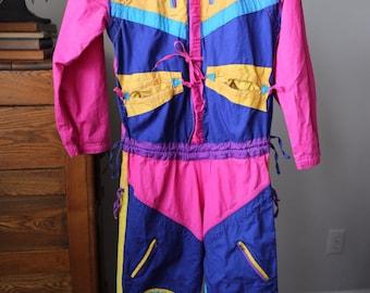 Women's Size Small Ski Wear Cover Cropped Legs Bright Colorblock 1980's Planet Design