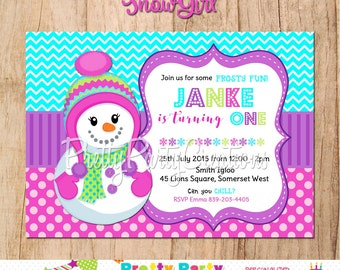 SNOWGIRL snowman invitation - with or without photo - YOU PRINT