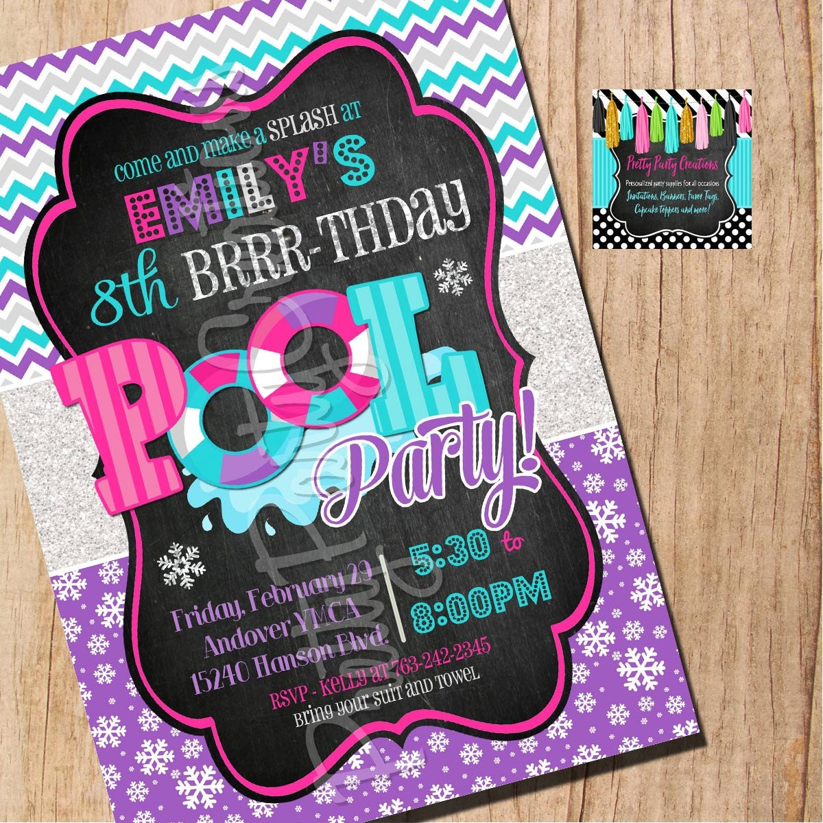 winter pool party invitation you print