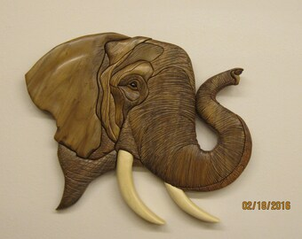 ELEPHANT, jungle beast Intarsia carved by Rakowoods, Judy G. Roberts design, great gift for birthday, christmas, wall decor for den, hunters