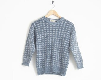 70s Sweater. Blue Grey Knit Sweater. Lambs Wool Sweater Pullover Jumper. Geometric Pattern Knitted Sweater. Blue Marled Sweater. Vintage