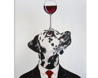 Dalmatian Painting, Wine Art, Dog with wineglass by painter Coco de Paris