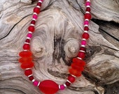 August Sale --- Orange, Red and Hot Pink Sea Glass Necklace and Earrings Set