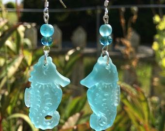 Sea Glass Seahorse Earrings, Blue Sea Glass Earrings