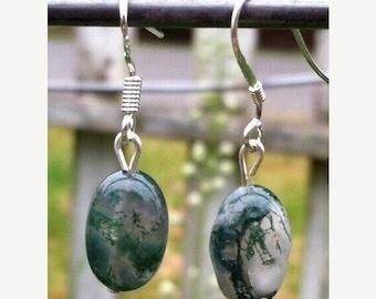 Weekend Sale --- Moss Agate Earrings   #6