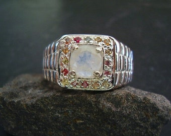Edward - Genuine Moonstone & Fancy Sapphire Unisex Ring, Unique Mens Halo Wedding Ring, Commitment Ring, Sterling Silver Statement OOAK Ring