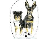 Custom Art, Personalised art, Pet Portrait - 5x7inch by Jennie Deane