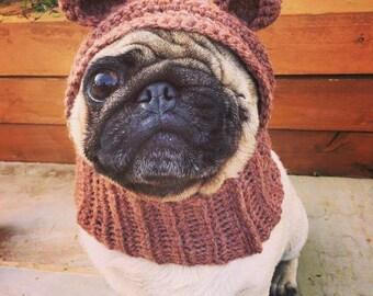 The teddy bear dog hat. Bear costume hat, snood for your dog. Pug, french bulldog, greyhound, king charles spaniel hat. Uk seller