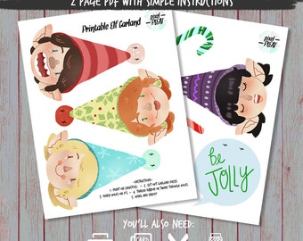 Jolly Elf Garland Printable PDF