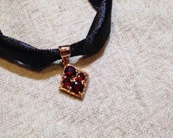 Vintage Bohemian Garnet 925 Sterling Silver Antiqued Rose Gold finish Pendant Necklace