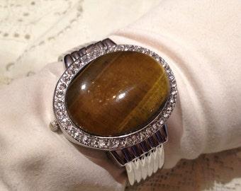 Tiger's Eye gemstone bangle bracelet watch