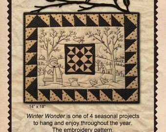 "Winter Wonder Embroidery by Kathy Schmitz, KS 1508, 14""x18"" Mini Embroidery Quilt Pattern/Wall Hanging"