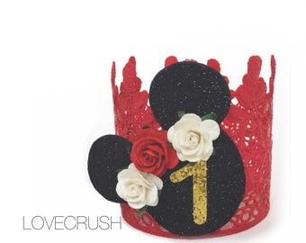 Birthday Mouse vintage red black ivory + gold lace crown || headband || photo prop || customize ANY AGE
