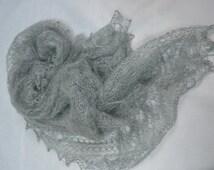 Bridal silver grey Shawl, Wrap, Bridal stole, shrug, wedding, bridesmaid shawl, handmade shawl
