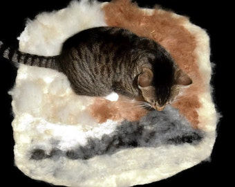 Alpaca Cat Bed Cruelty Free Rustic Felted Fleece Rug - MultiPaca Lt - Supporting Small US Farms - Not a Skin - Better - Ready to Ship