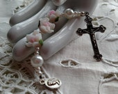 Chaplet in Pink Roses, Chaplet for Baptism, Chaplet for Confirmation, Pink Chaplet, Rose Chaplet