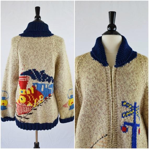 Knitting Pattern Train Sweater : Vintage train pattern cowichan sweater / zip front heavyweight