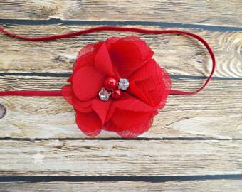 Red headband, baby headband, infant headband, newborn headband, girl headband, hair clip, baby gift, baby girl headband, elastic headband