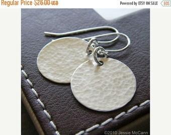 Anniversary Sale - Sterling Silver Earrings - Sterling Silver Hammered Circle Earrings